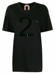 Nº21 oversized vinyl logo T-shirt - Black