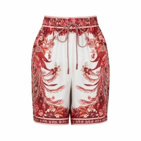 Zimmermann Wavelength Placement Printed Silk Shorts