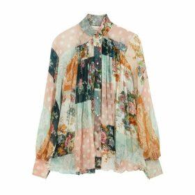 Zimmermann Wavelength Floral-print Silk Blouse