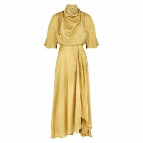 Roksanda Senja Gold Draped Satin Midi Dress
