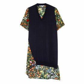 Stella McCartney Floral-print Satin And Wool Mini Dress