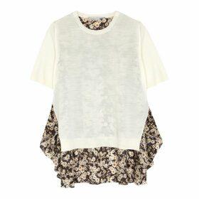 Stella McCartney Floral-print Satin And Wool Top