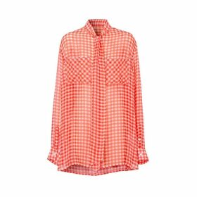 Burberry Gingham Silk Chiffon Pussy-bow Blouse