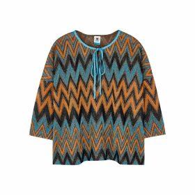 M Missoni Zigzag Metallic Fine-knit Top