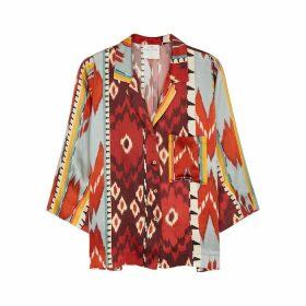 Forte forte Encens Printed Silk-satin Shirt