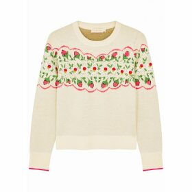 Tory Burch Cream Floral-intarsia Wool-blend Jumper