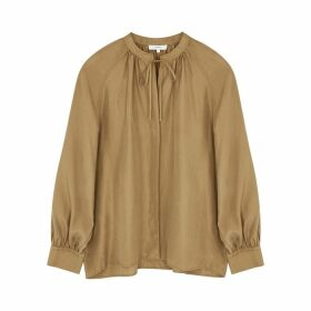 Vince Brown Washed Silk Blouse
