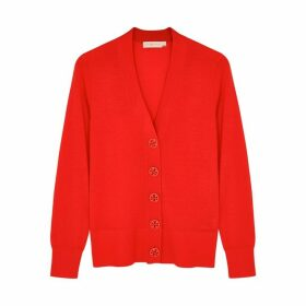 Tory Burch Simone Red Merino Wool Cardigan