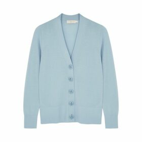 Tory Burch Simone Blue Merino Wool Cardigan