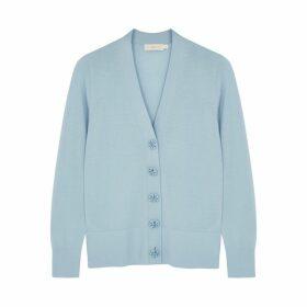 Tory Burch Simone Blue Merino Wool Cardigan