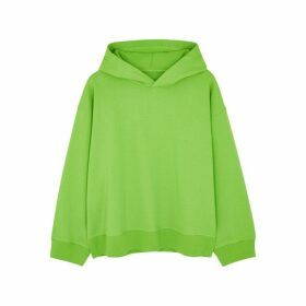 MM6 By Maison Margiela Lime Printed Hooded Cotton Sweatshirt