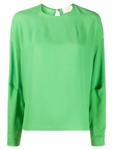 Sara Battaglia boxy fit curved hem blouse - Green