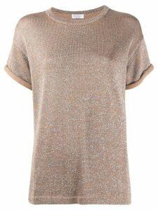 Brunello Cucinelli metallic-effect knitted top - Brown