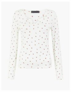 M&S Collection Floral Notch Neck Fitted Long Sleeved Top