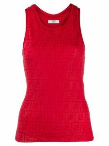Fendi embossed logo tank top - Red