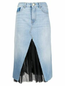 Pinko tulle layer denim skirt - Blue