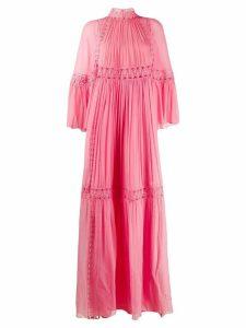 Alberta Ferretti embroidered flared maxi dress - PINK