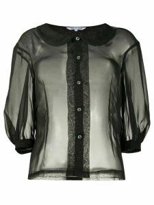 Comme Des Garçons Comme Des Garçons sheer 3/4 sleeves shirt0 - Black
