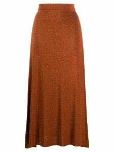 Temperley London metallic knitted midi skirt - ORANGE