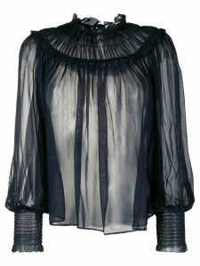 Ulla Johnson ruffled silk peasant blouse - Blue