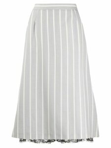 Thom Browne banker stripe A-line flared skirt - Grey