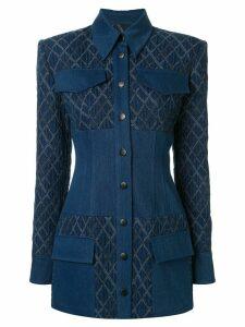 Manning Cartell geometric-pattern multi-pocket jacket - Blue