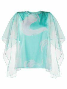 Kenzo sheer-sleeve tulle blouse - Green