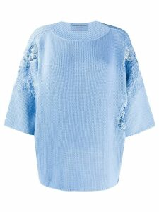 Ermanno Scervino floral lace detailed jumper - Blue