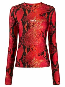 MSGM snakeskin-print long-sleeved top - Red