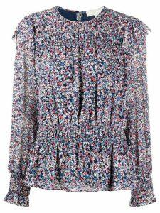 Michael Michael Kors floral print ruffle shoulder blouse - Blue