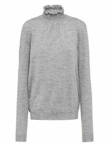 Prada smocked-neck knitted top - Grey