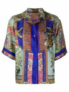 Etro Camicia print silk shirt - Blue