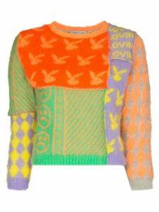 Ashley Williams patchwork fuzzy jumper - ORANGE