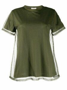 Moncler mesh-layered cotton T-shirt - Green