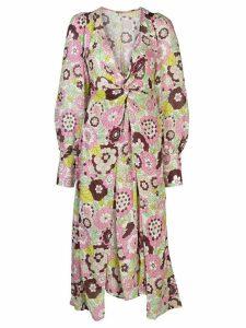 Dodo Bar Or floral print twist midi dress - PINK