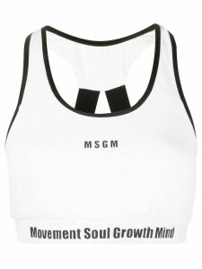 MSGM slogan band detail halter back top - White