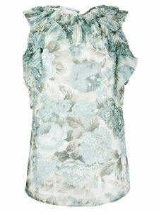 P.A.R.O.S.H. ruffled floral-print blouse - Blue