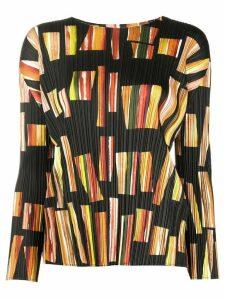 Pleats Please Issey Miyake geometric-print pleated top - Black