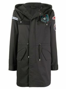 Mr & Mrs Italy multiple-patch hooded coat - Black