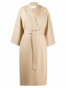 Harris Wharf London midi wrap coat - NEUTRALS