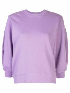 AGOLDE cropped sleeve round neck sweatshirt - PURPLE