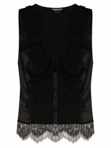 Tom Ford lace panel sleeveless blouse - Black