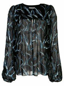 Alexis Valex foliage embroidered blouse - Black