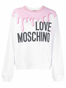 Love Moschino paint print logo print jumper - White