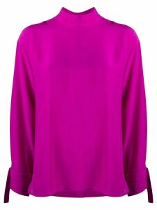 Jejia high collar silk blouse - PURPLE