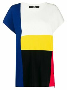 Karl Lagerfeld knitted colour block T-shirt - White