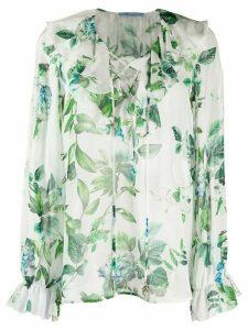 Blumarine floral print silk blouse - White