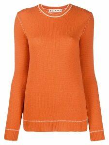 Marni contrast-stitch sweater - ORANGE