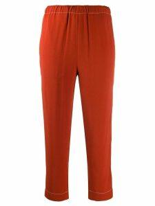 Marni contrast-stitch cropped trousers - ORANGE