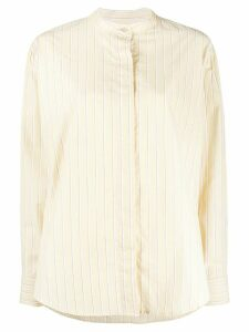 Isabel Marant Satchell striped band-collar shirt - Yellow